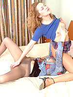 Lusty babes in lacy tights bringing themselves to climax getting to 69 game