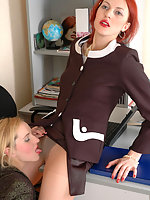 Freaky co-workers in lacy pantyhose getting to clit-to-clit action on table